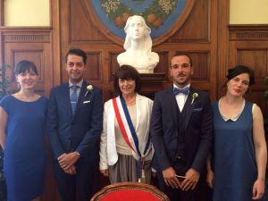 Avec les mariés et les témoins